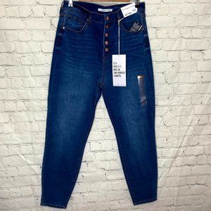 Celebrity pink blue button fly hi rise jeans